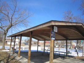 Pavilion pad will be painted and gutters installed for rain barrels.