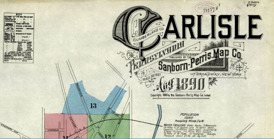 map carlisle 1890 detail
