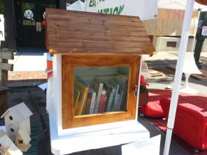 Chris Varner, Elm Street Manager, created a Tiny Library to show as a prototype for what we would like to start installing around town. Carlisle Arts Learning Center were very kind and painted the library.