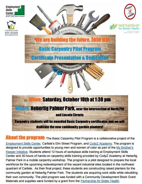 HP Park Garden Bed Dedication Ceremony & Carpentry Program