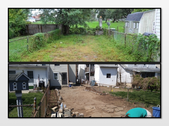 Backyard before and after